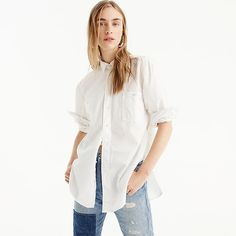 Crew for the Petite relaxed chambray boy shirt in white for Women. Find the best selection of Women Shirts & Tops available in-stores and online. Chambray Tunic, Boys Shirts, Women's Shirts, Fall Outfits, Fashion Outfits, White Women, Plus Size Fashion, Tunic Tops, Clothes For Women