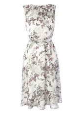 Ivory Butterfly print Occasion Dress