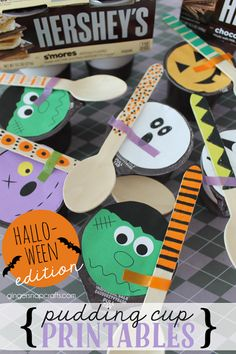 Halloween Pudding Cup Printables at   GingerSnapCrafts.com @walmart #readysetsnack #ad #cbias