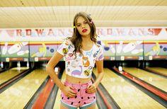 Stickers Crop Tee & Watermelon Denim Shorts