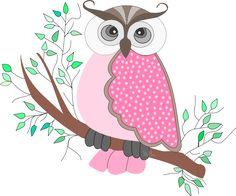 Coruja rosa - criação Blog PNG-Free