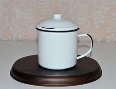 Enamel Sugar Bowl Lidded Enamel Sugar Bowl Vintage by WVpickin