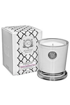 """Aquiesse 11oz. Grapefruit Acai Soy Candle. A citrusy mix of Acai berry, grapefruit, peach, balsam and vanilla. Made with organic soybean oil and lead-free cotton wick. The thick frosted glass makes a beautiful gift presentation. Cover also serves as a pedestal for the candle while burning. Comes with box of matches.    Burn Time: 100 hrs. Dimensions: 4"""" H x 3.75"""" W   Grapefruit Acai Candle by Aquiesse. Home & Gifts - Home Decor - Candles & Scents Philadelphia, Pennsylvania"""