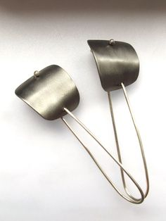 Contemporary Titanium Earrings - Minimalist Jewellery - Titanium Grey Earring - Industrial Chic