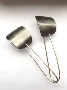 Contemporary Titanium Earrings - Minimalist Jewellery - Titanium Grey Earring - Industrial Chic