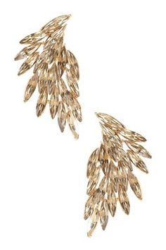 Champagne Wing Crystal Earrings