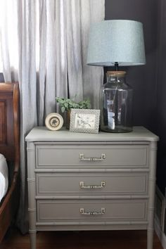 French Linen Annie Sloan Chalk Paint - Painted Henry Link Bamboo Dresser in a plum colored bedroom