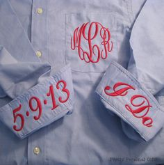 Blue Personalized Bridal Party Shirt - Monogrammed Button Down Wedding Getting Ready Shirt. $40.00, via Etsy.
