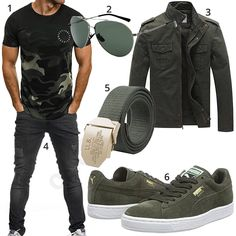 Grün-Schwarzer Street-Style mit Camouflage Shirt (m1055) #camouflage #jacke #frühling #puma #jeans #outfit #style #herrenmode #männermode #fashion #menswear #herren #männer #mode #menstyle #mensfashion #menswear #inspiration #cloth #ootd #herrenoutfit #männeroutfit