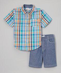 Blue Plaid Button-Up & Shorts - Infant