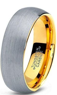 7mm Tungsten Wedding Band Ring for Men Women Comfort Fit 18K Yellow Gold Plated Plated Domed Brushed
