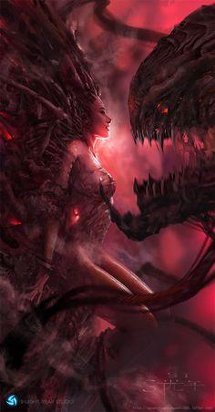 If StarCraft can make a movie . Dark Fantasy Art, Fantasy Girl, Fantasy Artwork, Fantasy Character Design, Character Art, Starcraft Zerg, Kerrigan Starcraft, Beautiful Dark Art, Demon Art