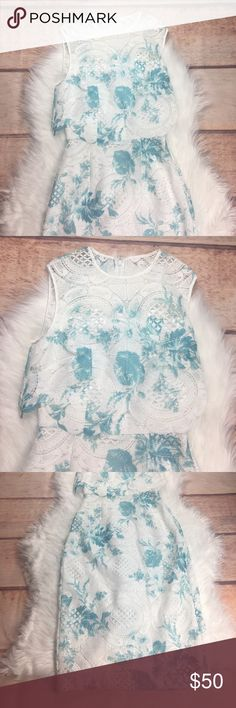 """ASOS Lace Watercolor Dress Amazing lace watercolor dress by ASOS. Size 2. Zipper up the back. 100% Polyester. Bust 30"""", Waist 22"""", Length 40"""". Asos Dresses"""