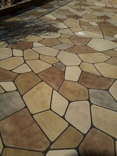 Decorative Flagstone Overlay in Knoxville, Iowa - Decorative Concrete Kingdom.   Repin & Click For More Info or Quote @ Your Home / Business.