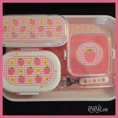 #Cute #strawberrycandy food #Daiso containers for #lunch!!!