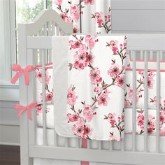 Cherry Blossom Crib Bedding collection by Carousel Designs. Made in the USA.
