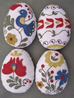 Easter Egg Bowl Fillers (Hungarian Folk Art Motifs) Wool Felt Appliqued by twood59 on Etsy
