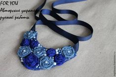 collar con flores de jeans Fabric Rosette, Fabric Flower Tutorial, Fabric Flowers, Bead Crochet, Irish Crochet, Crochet Necklace, Denim Crafts, Fabric Jewelry, Flower Crafts