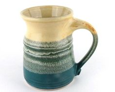 Handmade Stoneware Mug in Turquoise and Pale Yellow / Coffee Cup Functional Pottery