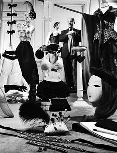 Christian Dior's studio 1948 - poupee and hatpins in the foreground are cool to see!