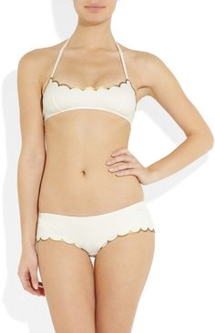 Chloé Scalloped Halterneck Bikini in Beige (white) - Lyst