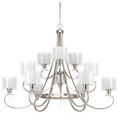 """Brushed Nickel Invite 49"""" Wide 12 Light 2 Tier Chandelier with Dual Shades"""
