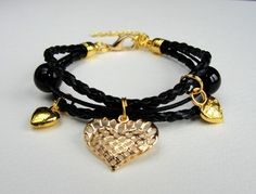 Leder bracelet with stones, gold hearts  pedants from Jewelry&Hand Made by DaWanda.com