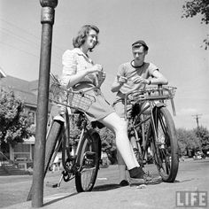 "electronicsquid: ""High school seniors on bicycles (Walter Sanders. 1944) """