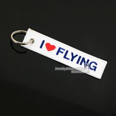 I Love Flying Travel Luggage Tag White Cloth with Blue Embroider Bag Tag  for Pilot Flight