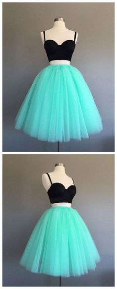 TWO PIECES A-LINE SPAGHETTI STRAPS GREEN HOMECOMING DRESS TULLE SHORT PROM DRESS SKY926