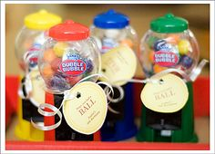 cute idea. . . Mini Gumball Machines - Party Favors!