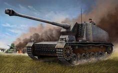 """German 12.8 cm Selbstfahrlafette L/61 """" Sturer Emil""""."""
