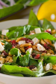 Spinach #Salad with Dried Cherries and Goat Cheese #Recipe