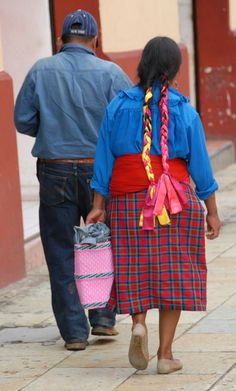 Zapotec woman with ribbons in hair