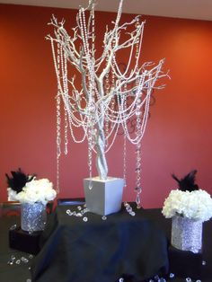 diamonds and pearls centerpieces | Diamonds and Pearls themed birthday party. This buffet centerpiece is ...