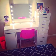My Vanity Setup using mostly IKEA items. Kolja Mirror, MUSIK lights DIY corded, Micke desk, Alex Drawers.