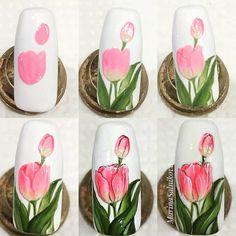 Trendy Nails Art Step By Step Unicorn Ideas Tulip Nails, Flower Nails, Trendy Nail Art, Easy Nail Art, Spring Nails, Summer Nails, Diy Nails, Cute Nails, Zebra Print Nails