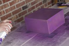 Try to spray as evenly as possible and then let it dry. Touch up if needed and let dry again. Diy Card Box, Diy Projects, Touch, Cards, Handyman Projects, Maps, Handmade Crafts, Diy Crafts, Playing Cards