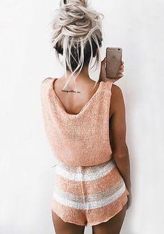 Pink Patchwork Irregular Elastic Waist Mid-rise Short Jumpsuit
