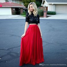 Black And Red Two Pieces Long Homecoming Dresses Lace And Chiffon Prom Dresses…