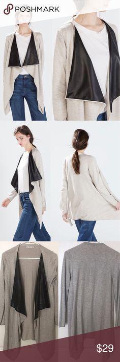 Zara Jacket Coat with Faux Leather Lapel Zara Jacket Coat with Faux Leather Lapel. Size medium. Good condition Zara Jackets & Coats