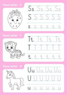 Alphabet Tracing Worksheets, Alphabet Coloring Pages, Preschool Worksheets, Coloring Pages For Kids, Writing Practice For Kids, Rainbow Room, Exercise For Kids, Writing Activities, Letters And Numbers