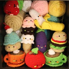 "Amigurumi Food and More. Much better than hard, plastic foods. Especially when the baby gets in that ""throwing"" stage."