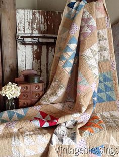 Primitive Farmhouse Flying Geese Antique QUILT c1900 Cutter Stacker or Display www.Vintageblessings.com