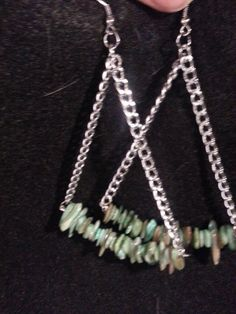Triangle chain dangles with green shell chips-$8