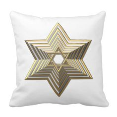 "#Silver and #Gold ""3-D"" stacked #StarofDavid Throw Pillows...#pillows #homedecor #throwpillows #interiordecorating #interiordecoration #interiordesign #livingroom #bedroom #den #RoseSantuciSofranko #Artists4God  #Artist4God #home #accessories #decor #lumbarpillows #custom #customizable #Zazzle #Jewish #Judaism #Israel"
