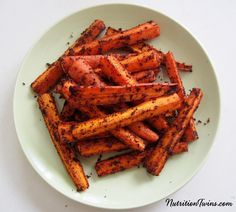 Spicy Carrot Fries   Only 71 Calories   Crispy, Sweet & Savory Substitute for Greasy Fries  For Nutrition & Fitness Tips & RECIPES please SIGN UP for our FREE NEWSLETTER www.NutritionTwins.com