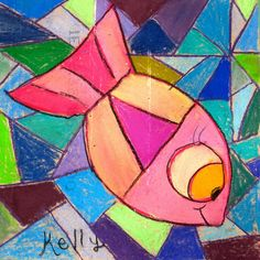 In the Art Room: Chalked Fish Ceiling Tile