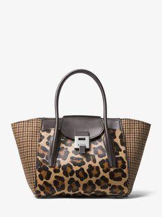 df36d5b0d99a Michael Kors Bancroft Medium Leopard and Houndstooth Satchel Handbags Uk