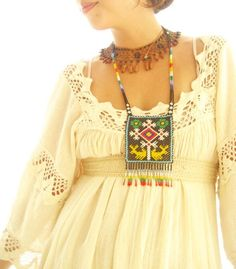 Romantic Mexico natural maxi dress vintage hippie by AidaCoronado, $240.00
